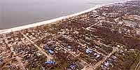 360 degree aerial panorama above east Long Beach after Hurricane Katrina.