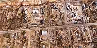 Aerial panorama of downtown Pass Christian after Hurricane Katrina.